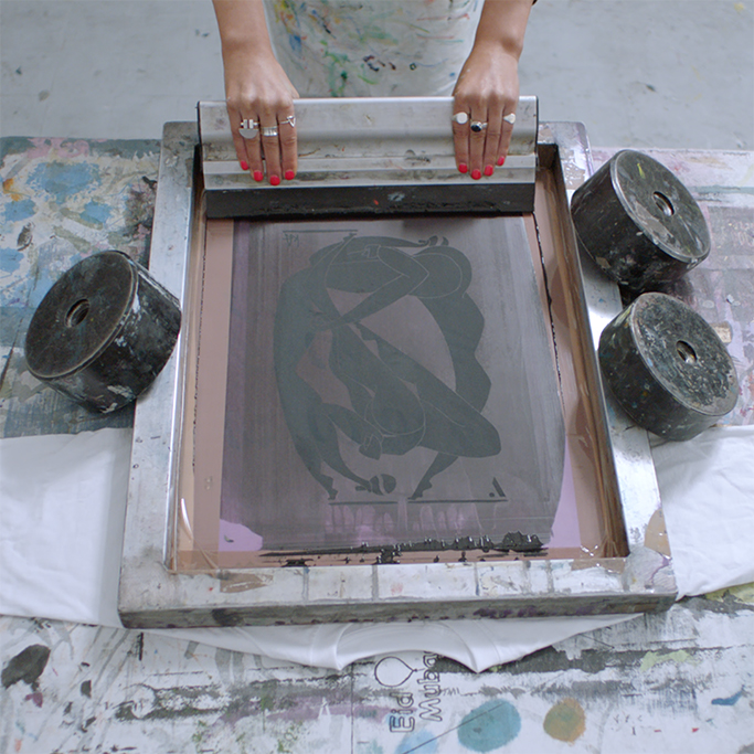 Kelly Anna creating a print