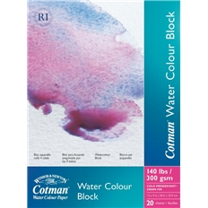 Cotman Water Colour Paper Block - Cold Pressed/Not Surface (4 Sides Glued) (300Gsm/140Lb) - 20 Sheets